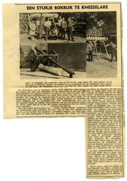 Krantenartikel zagerij De Spiegelaere, Knesselare, eind jaren '60